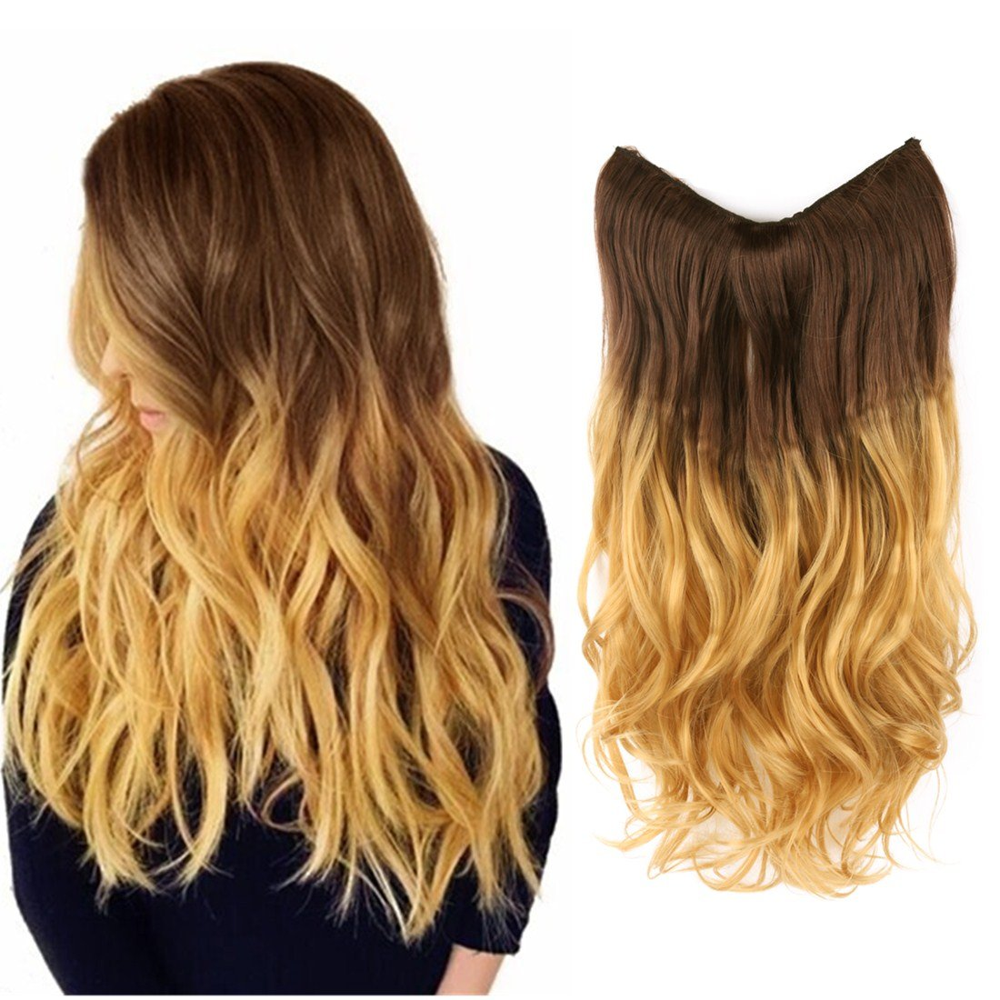 Amazon Creamily Hair Extension 14 Wavy Curly Brown To
