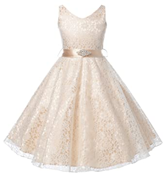 Amazon.com: OLIVIA KOO Lovely Lace V-Neck Flower Girl Dress: Clothing
