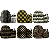 Mama Koala One Size Baby Washable Reusable Pocket Cloth Diapers, 6 Pack Nappies with 6 One Size Microfiber Inserts (Black & G