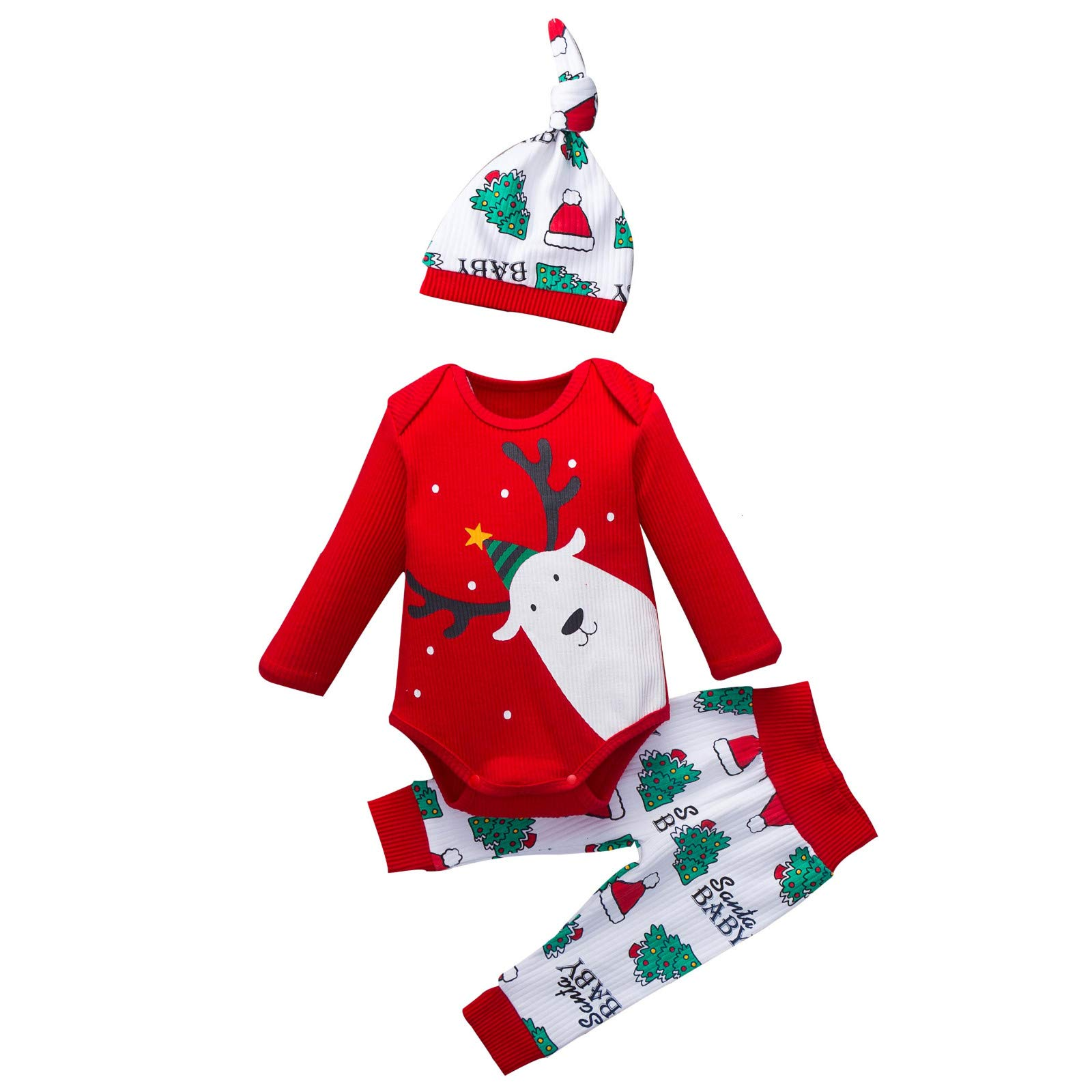 GorNorriss Baby My 1st Christmas Rompers, Christmas Outfits Baby Boys Bodysuit Santa Claus Pants with Christmas Hat by GorNorriss
