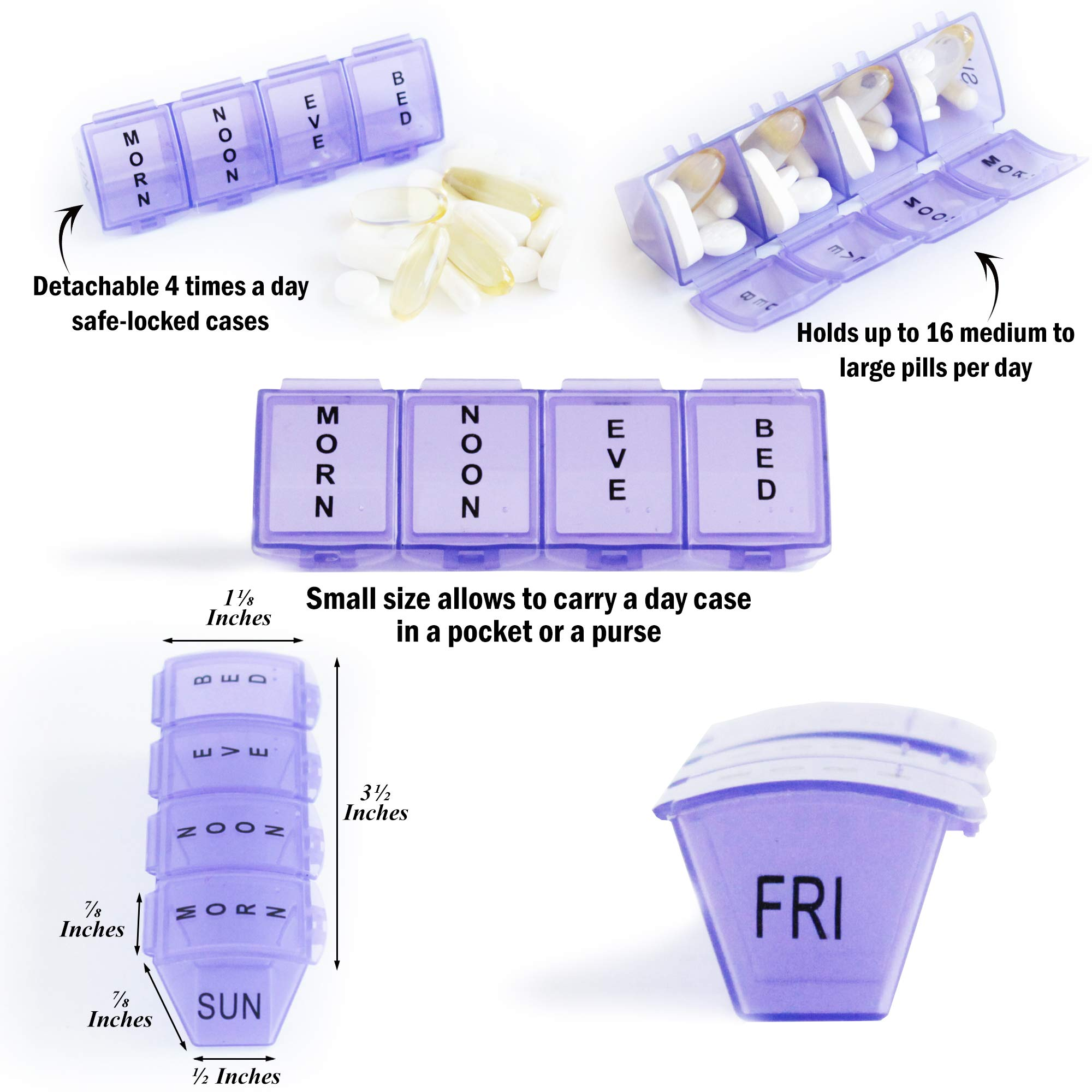 Weekly Pill Organizer, 7day Pill Box For Travel, Time, Space Saving, Daily Medicine Reminder, 7-Day Supplement Container, Holds Up To 16 Pills Per Day, Large Pill Case, Plus Cutter And Keychain Holder