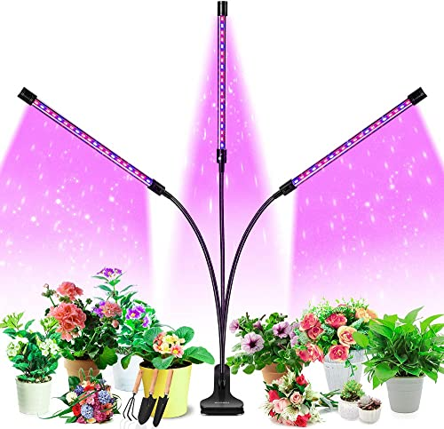 Grow Light, HOOMEDA 60W Tri Head Grow Lights for Indoor Plants with Red Blue Spectrum, 4 8 12H Timer, 10 Dimmable Brightness for Indoor Succulent Plants Growth, 3 Switch Modes, Adjustable Gooseneck