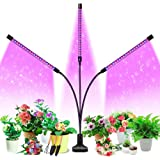 Grow Light, HOOMEDA Tri Head Grow Lights for Indoor Plants with Red Blue Spectrum, 4/8/12H Timer, 10 Dimmable Brightness for