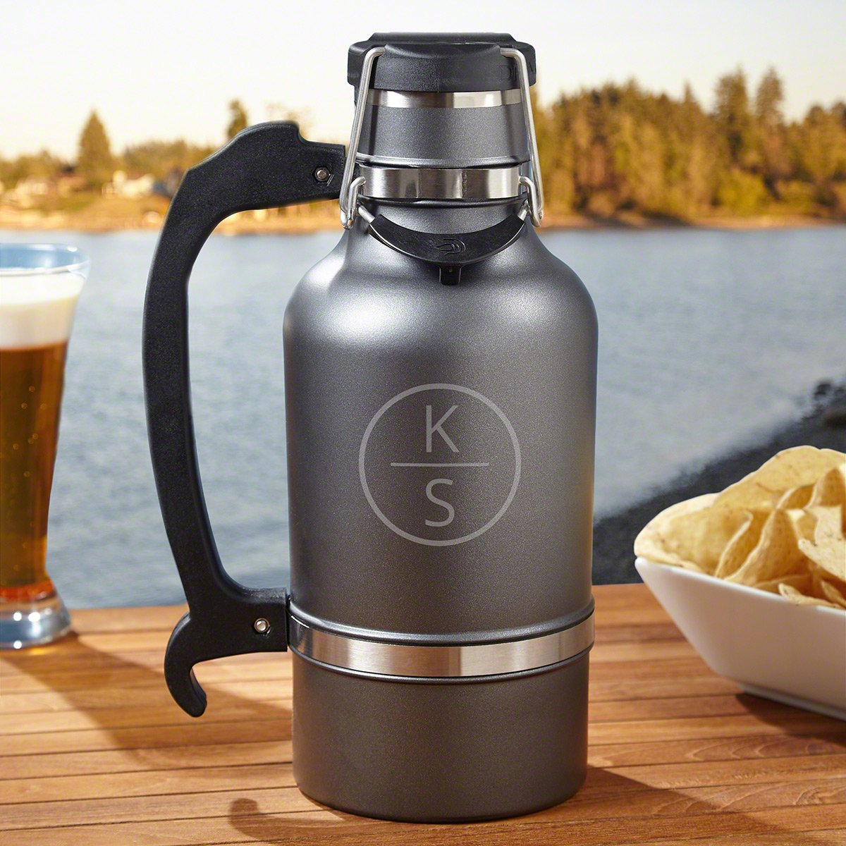 Emerson Monogram Insulated Beer Growler by HomeWetBar - Custom Gifts, Beer Lover, Gifts for Him, Anniversary, Retirement, Birthday