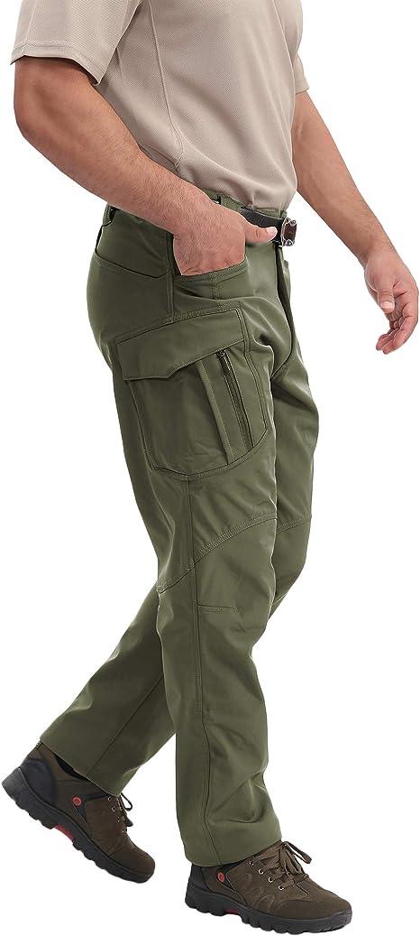Outdoor Tactical Pants Assault Cargo Soft Shell Waterproof Climbing Hiking Pants Winter with Zip Pocket for Men Women