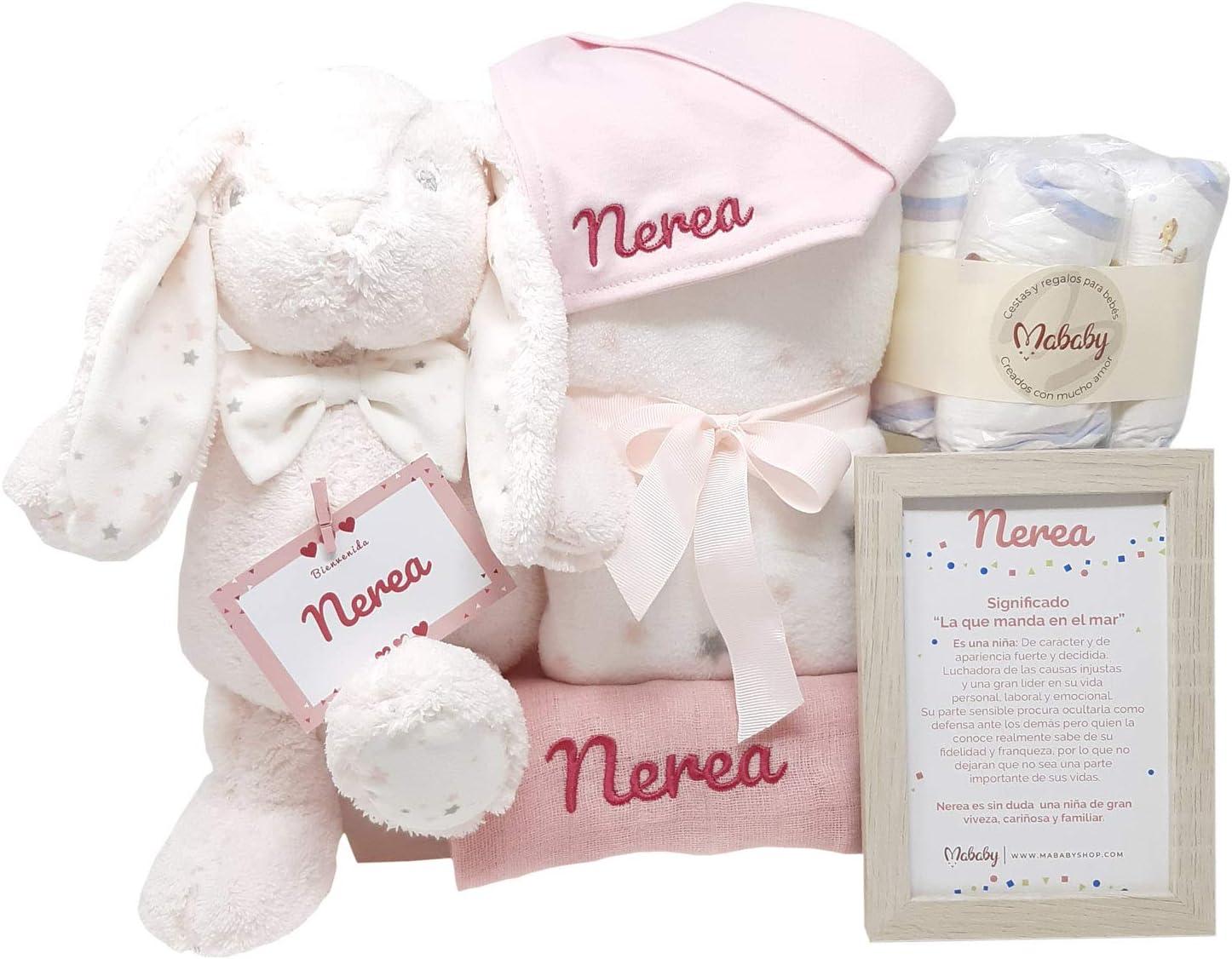 MabyBox Teddy Bunny | Canastilla Bebé | Regalo Bebé Personalizado | Cesta Regalo Recién nacido | Regalo Babyshower | Cesta Bebé Personalizada (Rosa)