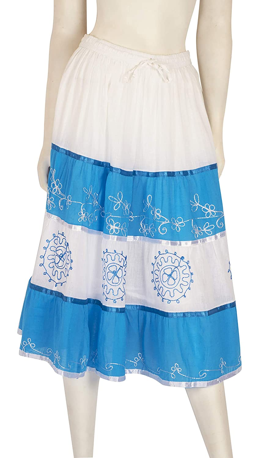 JOTW Womens Indian Mid Length Two-Tone Skirts with Embroidery Design LAD#207M