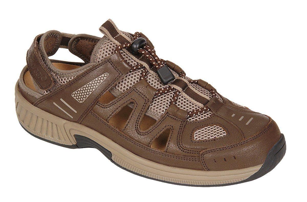 Orthofeet Alpine Comfort Diabetic Mens Orthopedic Sandals Fisherman Brown Leather 12 W US