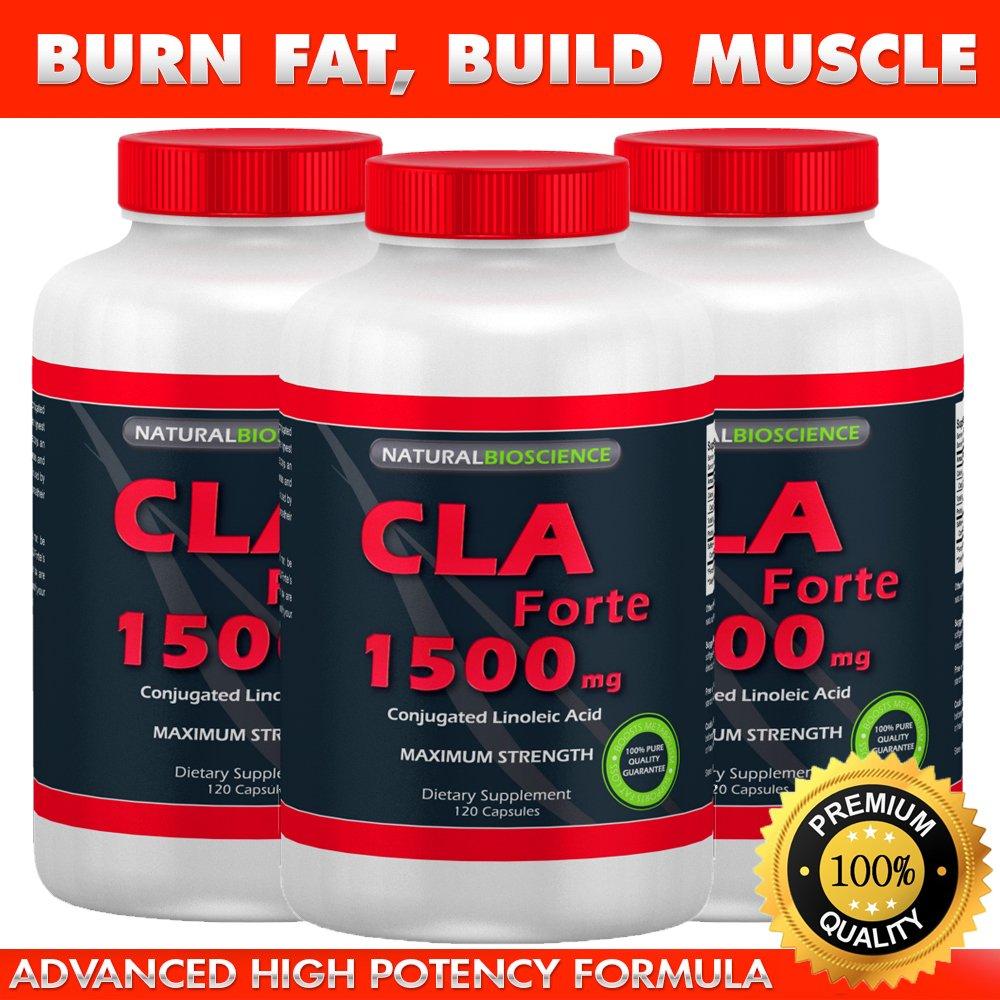 CLA Forte - #1 Natural Fat Burner - Maximum Strength - 1500mg, 120 Softgels - Made with 100% Pure Safflower Oil - High Potency CLA Supplement - Achieve Weight Loss Goals - Reduce Belly Fat - Build Muscle Mass - Better than Diet Pills! (3)