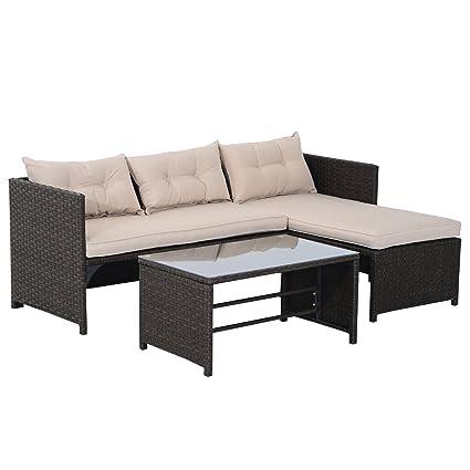 Amazon.com: Juego de sofá para exteriores, de mimbre ...