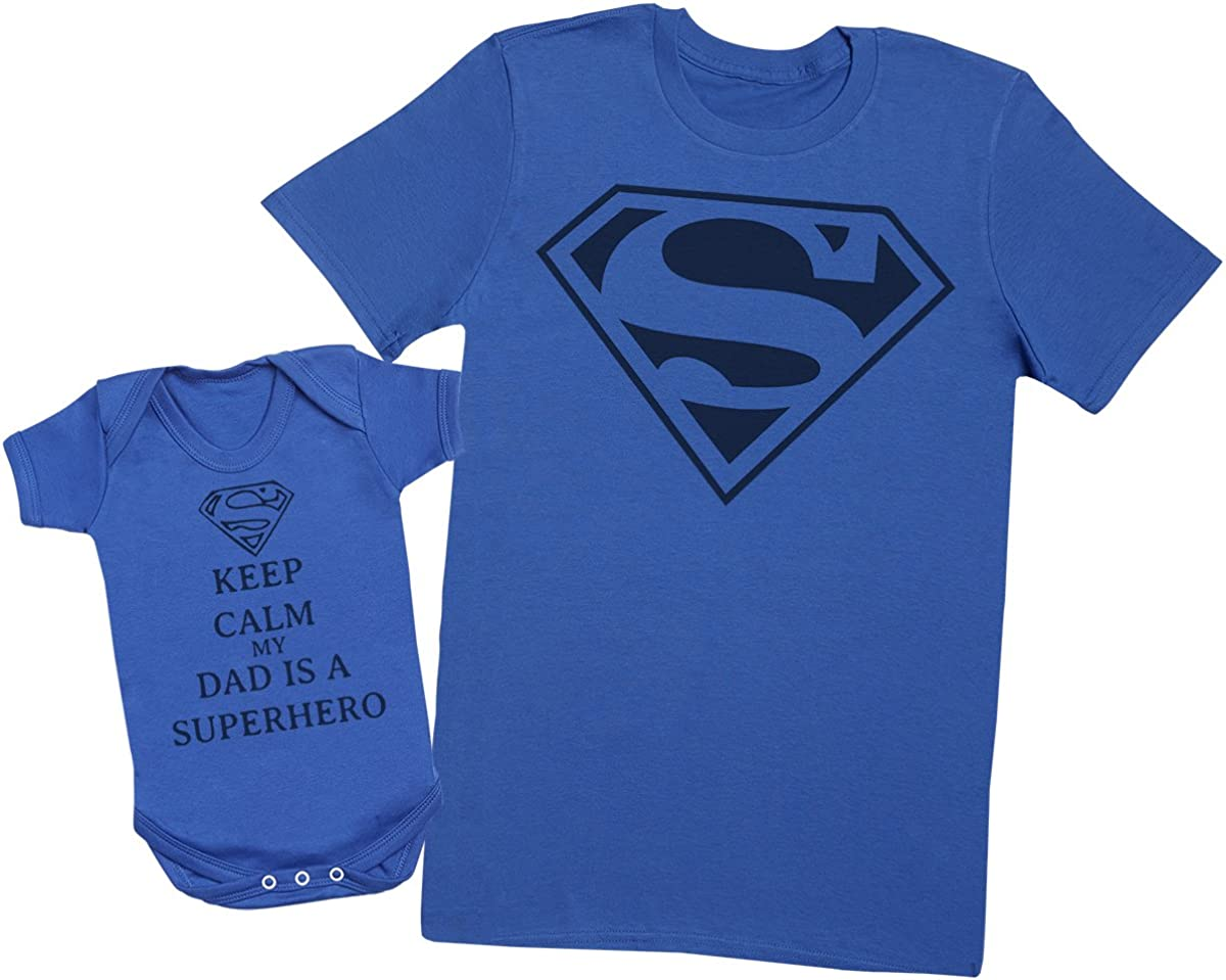 Mens T Shirt /& Baby Bodysuit - Create a Matching Father Baby Gift Set Each Sold Separately Keep Calm Dad is A Super Hero