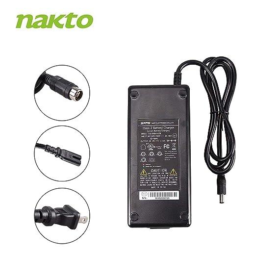 Nakto - Cargador de batería para Bicicleta eléctrica (36 V, 10 Ah ...