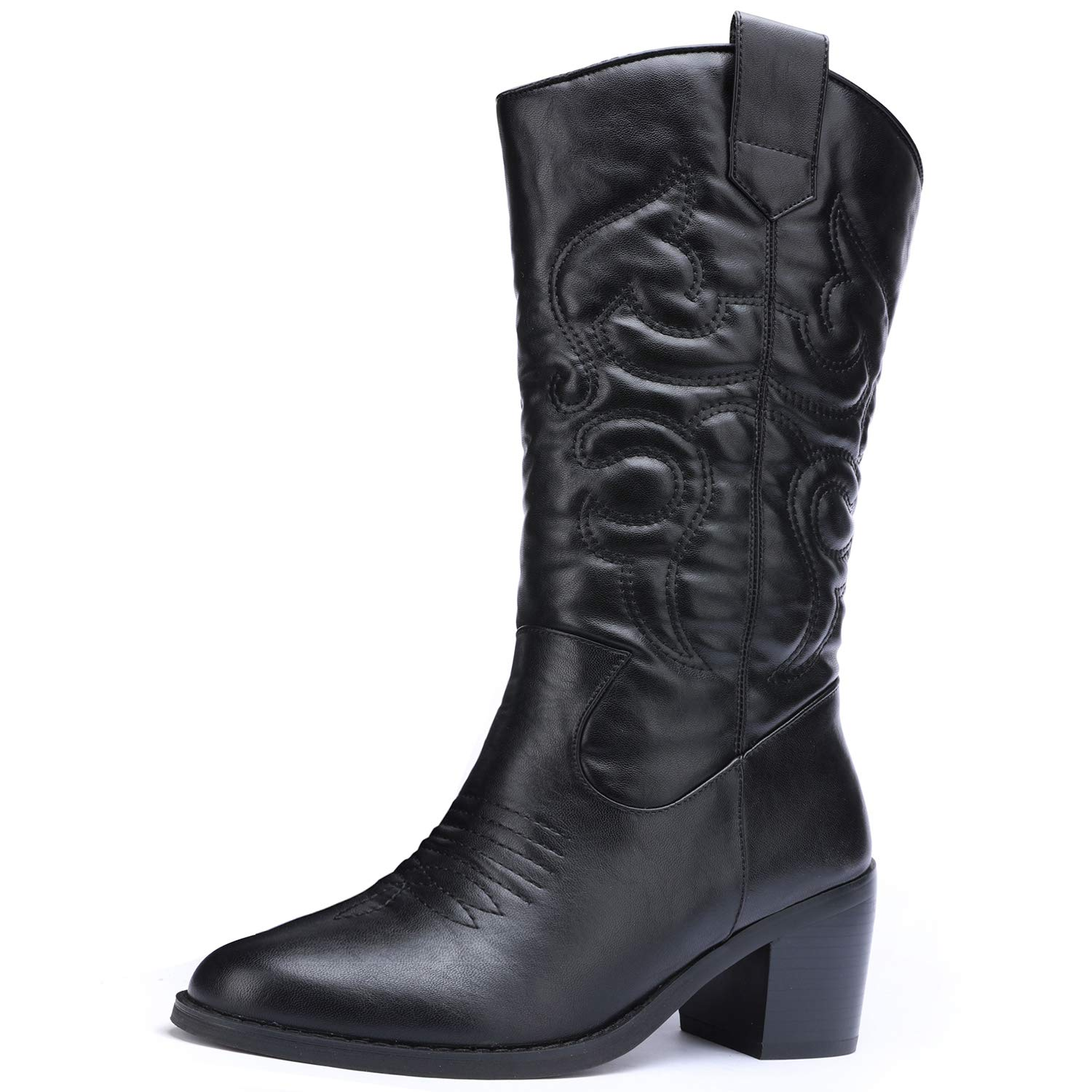 Black Odema Womens Wide Toe Cowboy Western Tabs Boots Low Heel Pull On Mid Calf Bootie