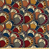 Ambesonne African Fabric by the Yard, Paisley Motifs with Geometric Design Dots and Lines Teardrop Shape with Curved Tip, Decorative Fabric for Upholstery and Home Accents, Multicolor