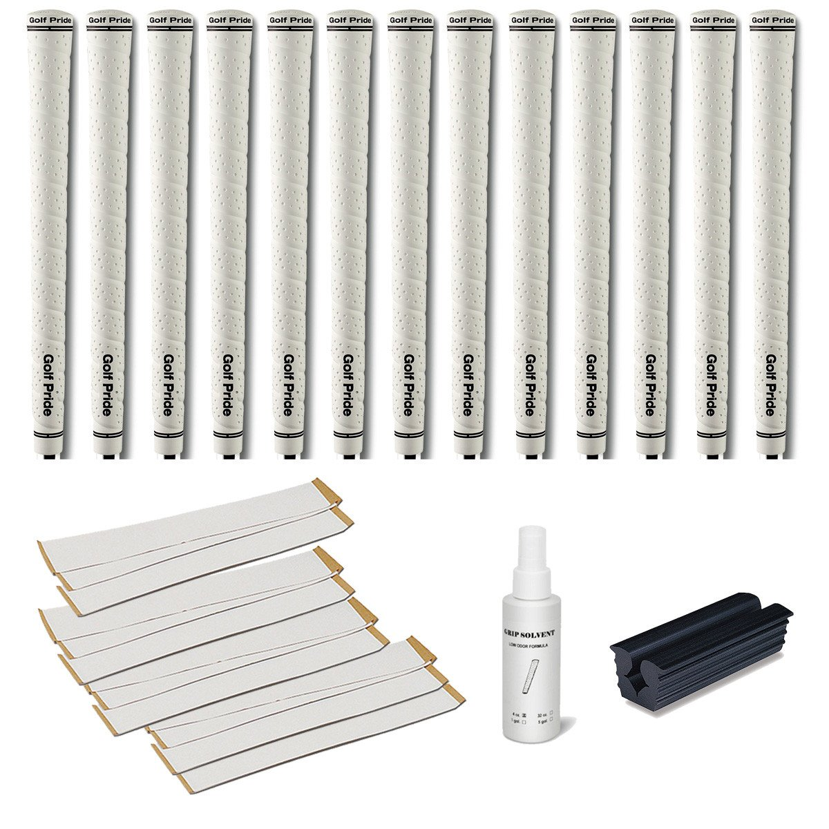 Golf Pride Tour Wrap 2G Midsize White - 13 pc Golf Grip Kit (with Tape, Solvent, Vise clamp)