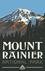 Northwest Art Mall Mount Rainier National Park Artwork by Paul A Lanquist, 11-Inch by 17-Inch