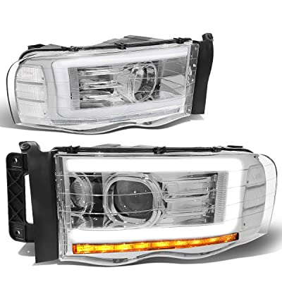 DNA MOTORING Chrome/Clear HL-LB-DR02-CH-CL1 Pair LED DRL Projector Headlight Lamp Replacement: Automotive