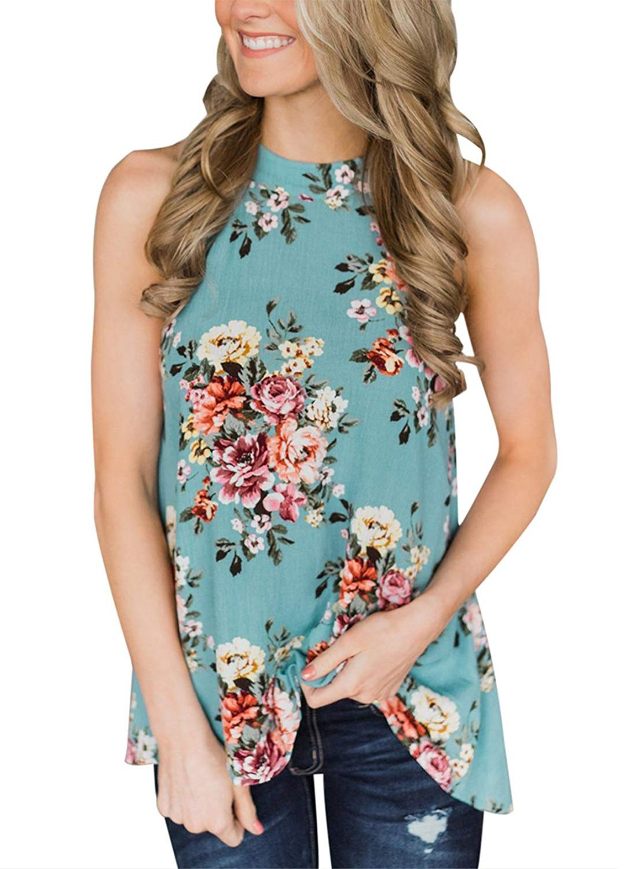 Willow Dance Women's Summer Sleeveless Halter Neck Floral Print Tank Tops Camis Shirts Blouse