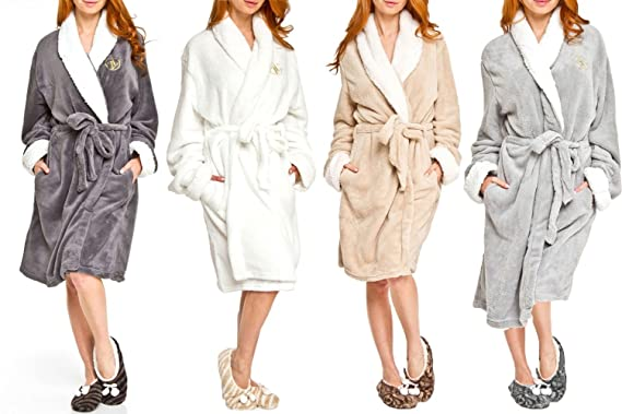 Adrienne Vittadini Sherpa-Lined Bathrobe and Slippers Gift Set for Women at  Amazon Women s Clothing store  590991822