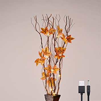 Lightshare 36 Inch 16led Natural Lighted Willow Twig Branch Maple Leaf Built In