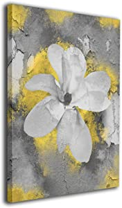 """Ale-art Yellow Gray Modern Abstract Floral Wall Art for Living Room Bedroom Canvas Wall Art Decor Framed Canvas Artworks Prints Giclee Ready to Hang for Home Decoration 16""""x20"""""""