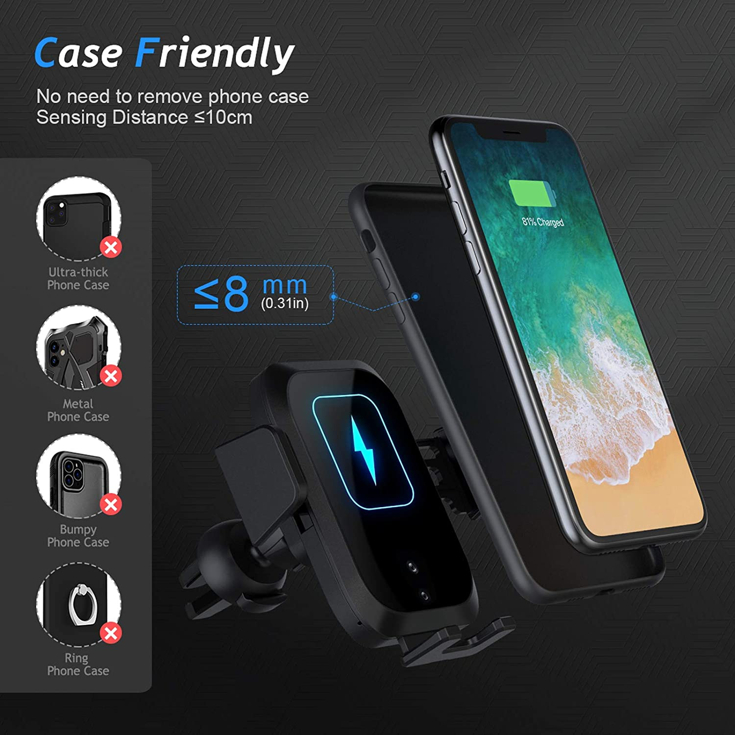 BILLKAQ Wireless Car Charger,15W 10W Qi Fast Charging Car Mount Charger Auto-Clamping Air Vent Car Phone Holder Compatible with iPhone 12//11 Pro//Xs MAX//XS//XR Samsung S10//S9//S8 /& Other Qi Smartphone