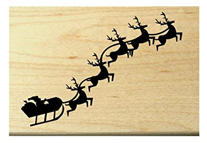 Amazon P22 Santa Claus And Reindeer Rubber Stamp Arts Crafts