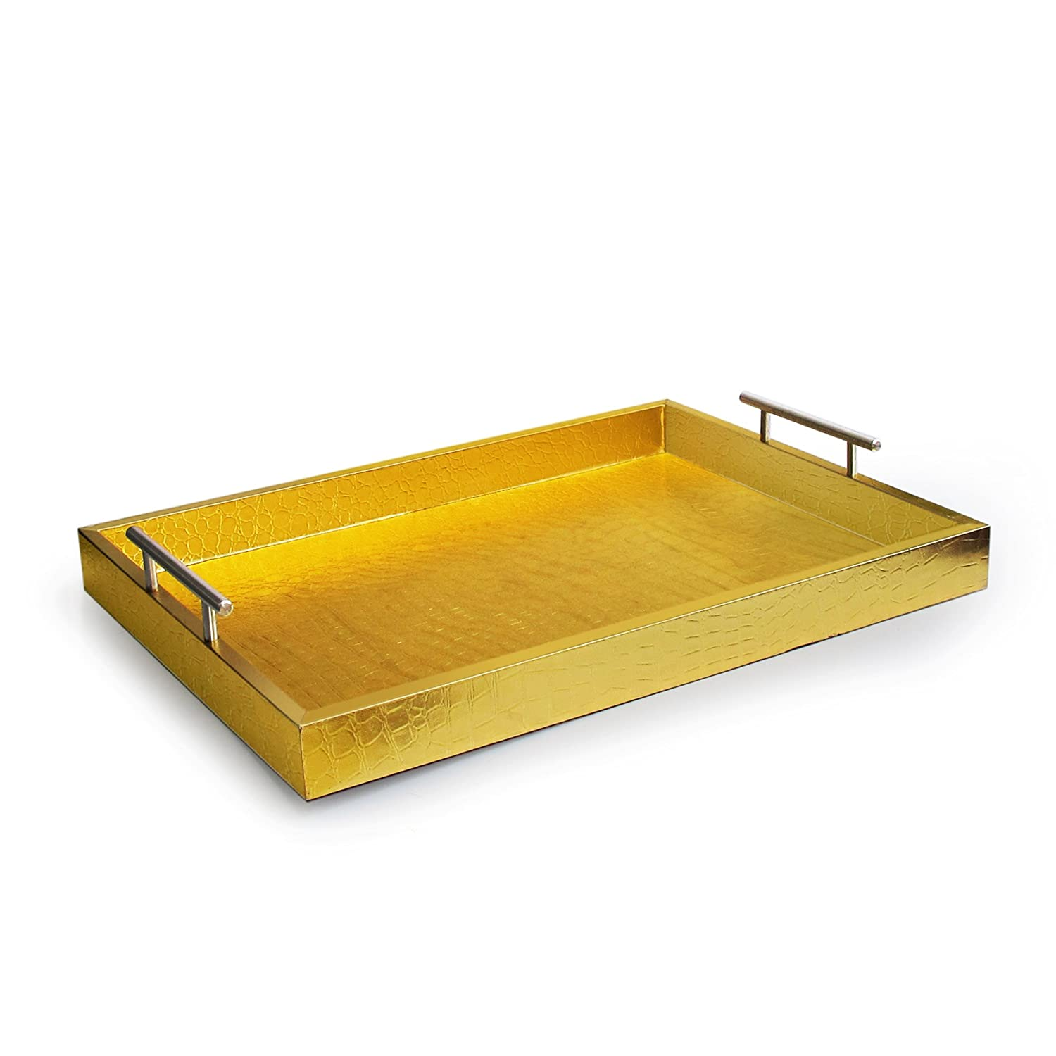 American Atelier Alligator Tray with Metal Handles, Gold Jay Imports 1270102