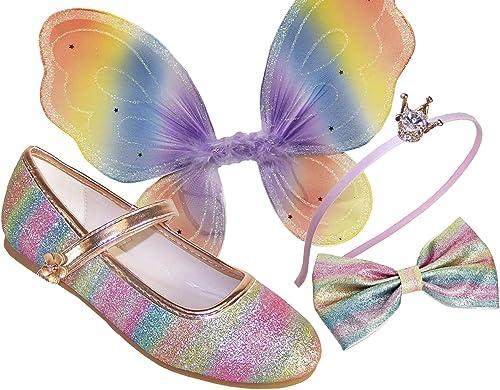 Ballerine da bambina con glitter color arcobaleno scintillanti