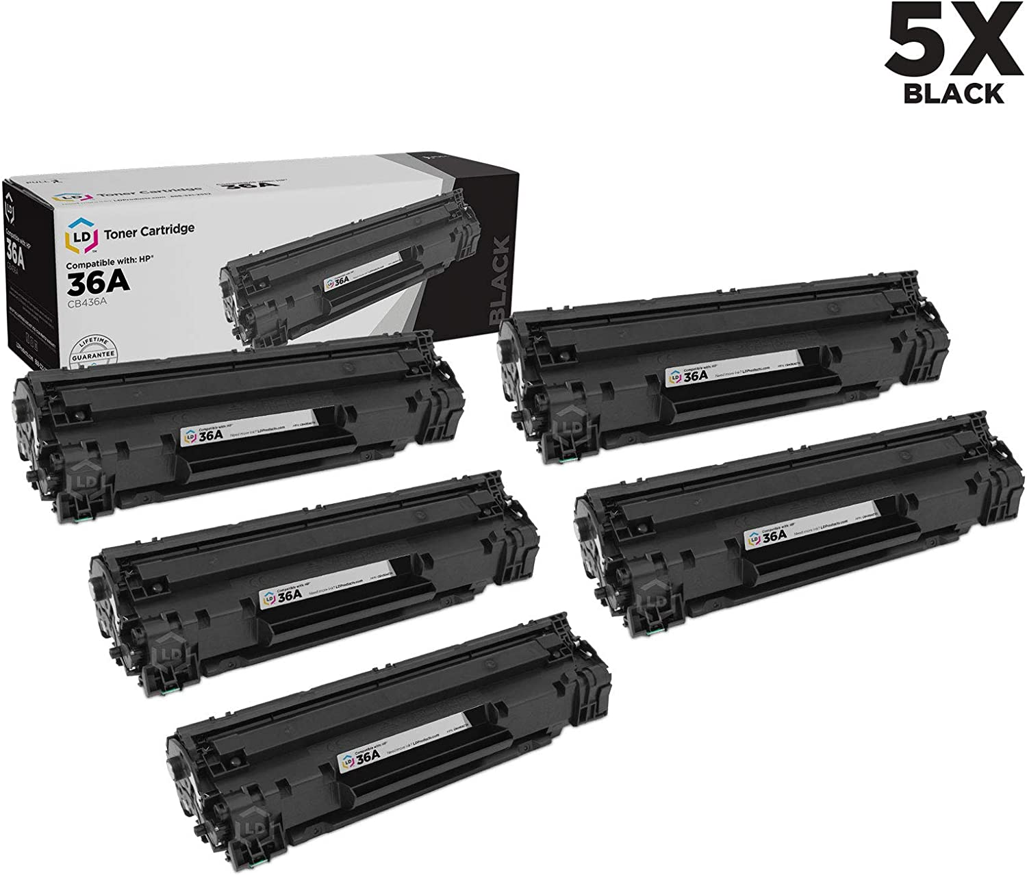 LD Compatible Toner Cartridge Replacement for HP 36A CB436A (Black, 5-Pack)