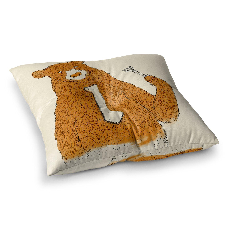 Kess InHouse Tobe Fonseca Work Brown Bear 26 x 26 Square Floor Pillow