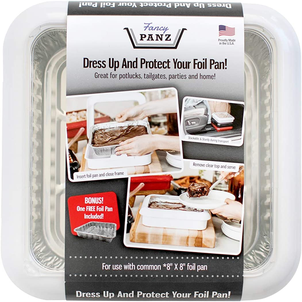 Fancy Panz 8 x 8-Inch Dress Up and Protect Your Foil Pan, 100% Made in USA, 8 x 8 Foil Pan Included. Hot or Cold Food. Stackable for easy travel. Great for potlucks, tailgating & home (White)