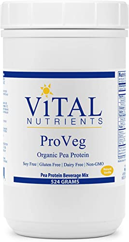 Vital Nutrients – ProVeg – Organic Pea Protein with Natural Vanilla Flavor – Vegetarian – 524 Grams per Bottle