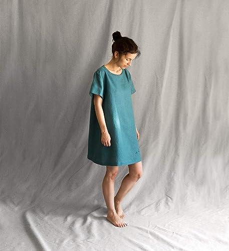0a7b3e5ce6 Amazon.com  Linen loose blue green sea wave dress with deers embroidery   Handmade