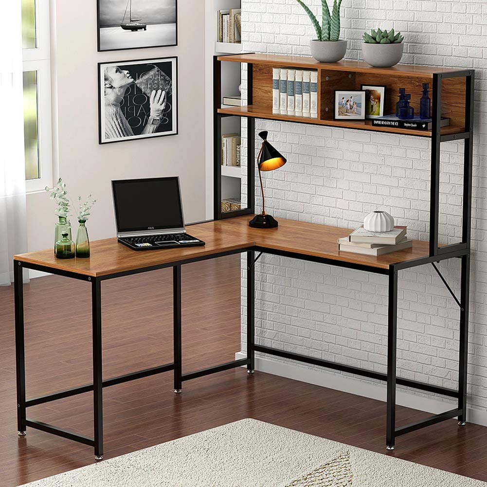 Tribesigns L-Shaped Desk with Hutch,55'' Corner Computer Desk Gaming Table Workstation with Storage Bookshelf for Home Office, Vintage Walnut