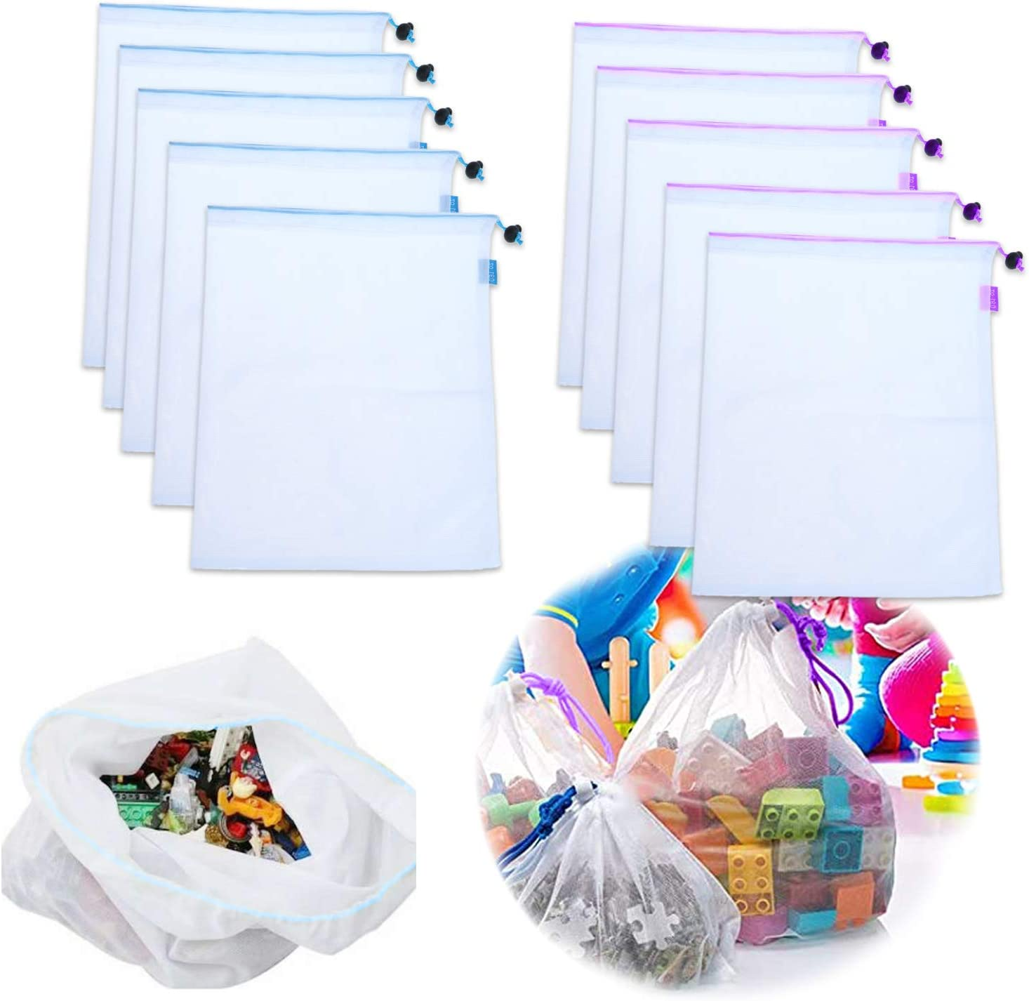 10 Pack Toy Storage Organization Mesh Bags,Can be Washed and Reusable, Food Safety Mesh Bag, with Drawstring, Suitable for Fruit, Vegetable, Toys classification, Travel Storage 12×17in (large)