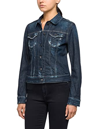 Replay Women's Women's Dark Blue Denim Jacket at Amazon Women's ...