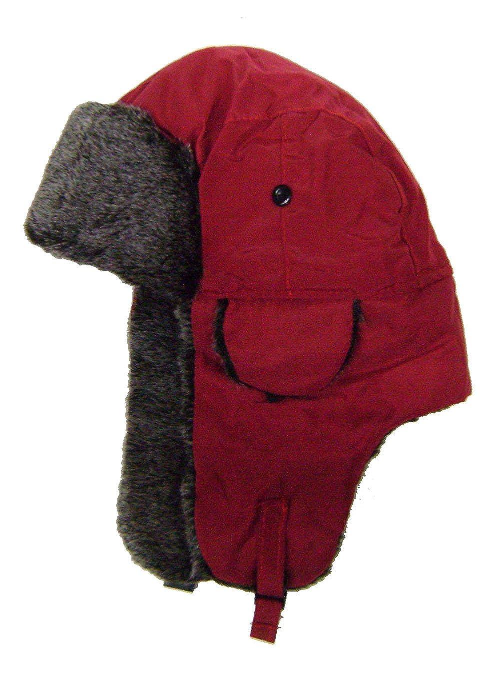Modestone Warm Trapper Bomber Hat Faux Fur Trim o//s Red
