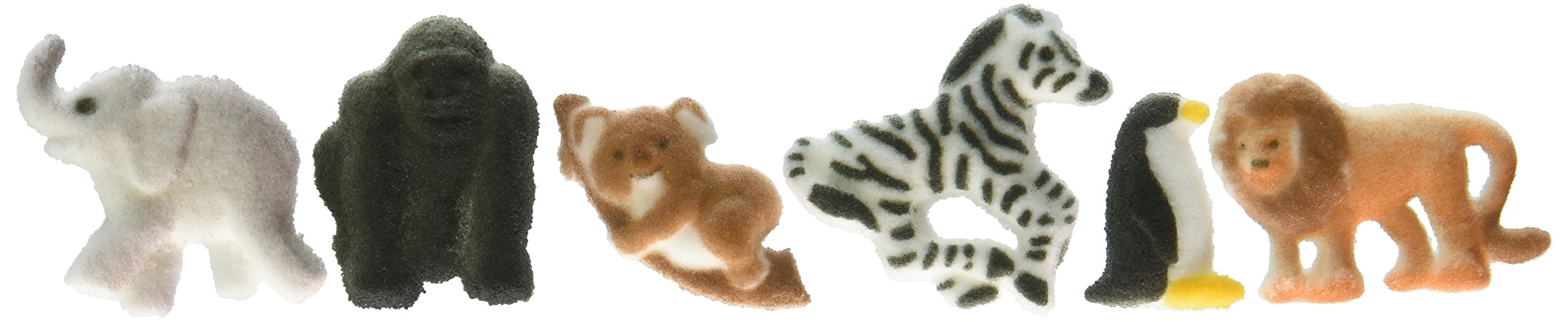 Lucks Dec-Ons Molded Sugar Cupcake Topper, Mini Zoo Animals Assortment, 1 - 1 5/8 Inch, 120 Count
