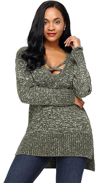 da97bae655 Sexy Long Sleeve Lace Up Deep V Neck Side Split Slit High Low Hem Pullover  Sweater