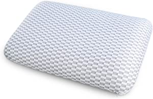 """Ambesonne Visco Elastic Pillow with Easy to Clean Fabric Cover, Comfortable Breathable Foam for Side Back and Stomach Sleepers Healthy Night Sleep Microfiber Shams, 36"""" X 20"""" X 5.5"""", Grey and White"""