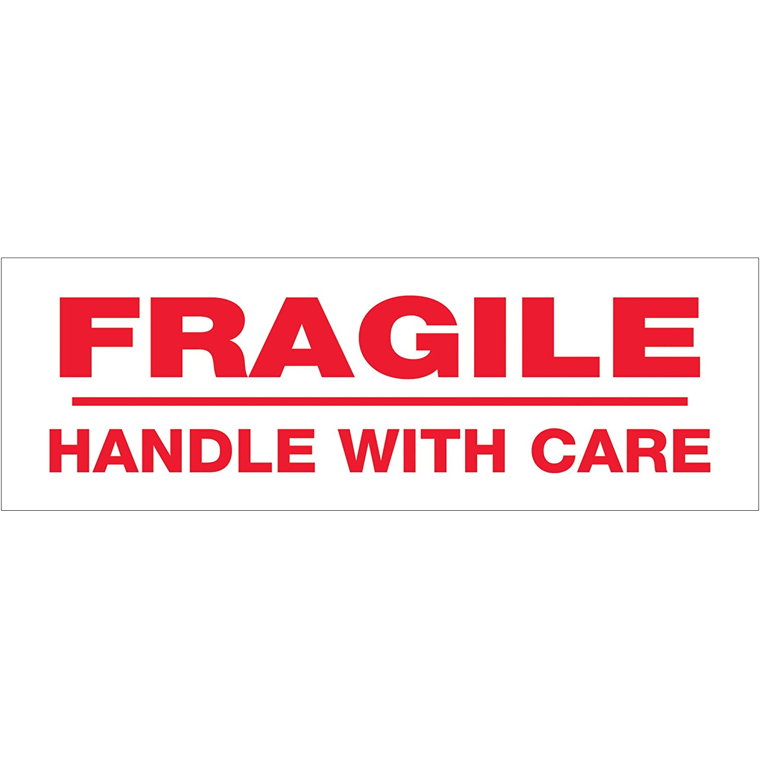 Tape Logic T901P02 Pre-Printed Carton Sealing Tape, Legend Fragile Handle with Care, 55 Yards Length X 2-Inch Width, 2.2 Millimeter Thick, Red on White (Case of 36)