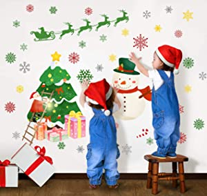 Christmas Wall Stickers Winter Snowflake Wall Decals Peel and Stick Merry Christmas Tree Santa Claus Snowman Reindeer for Home Living Room Office Nursery Decor Xmas Mural Christmas Decorations