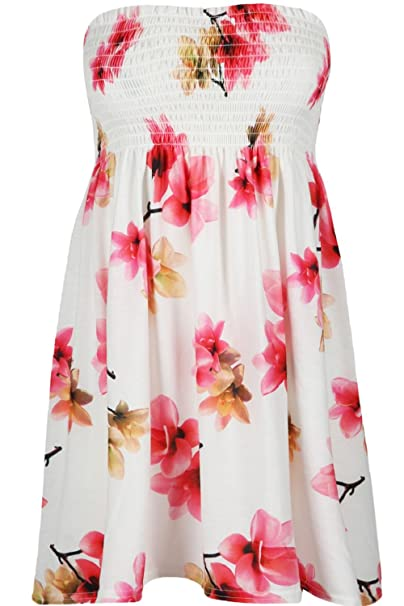 caf0aae98a Womens Ladies Sheering Boobtube Gathered Bandeau Floral Rose Mini Dress Top   Amazon.co.uk  Clothing