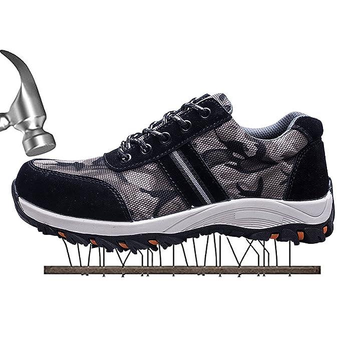 COOU Zapatillas de Seguridad para Hombre Ligeras S3 Calzado de Trabajo para Comodas: Amazon.es: Zapatos y complementos