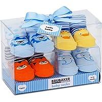 BRUBAKER 4 Paia di calze bambino ragazze 0-12 mesi - Fun Sneaker, automobile, animali, falliti, calze Natale - in confezione regalo
