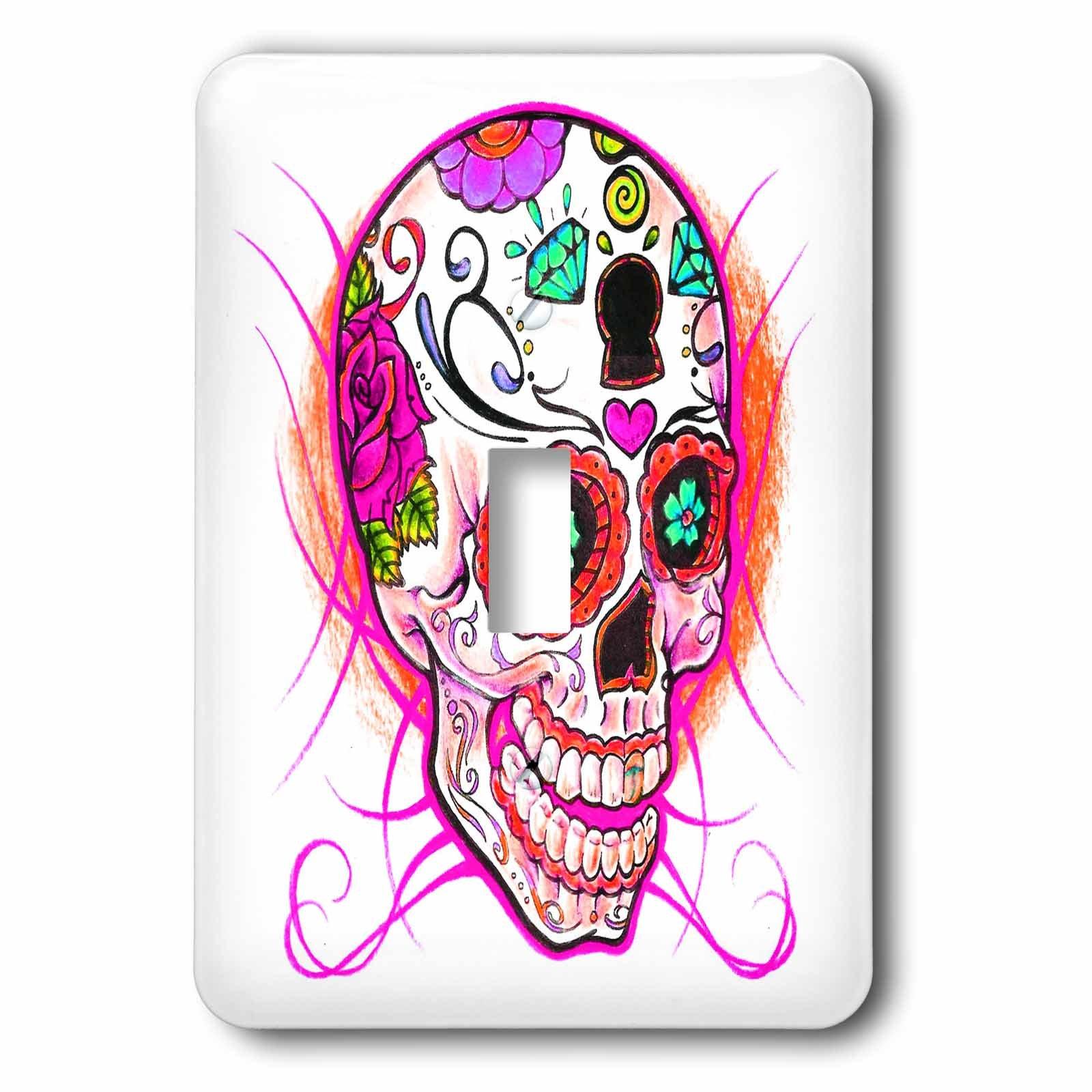 3dRose lsp_193528_1 Diamond Sugar Skull Pink Light Switch Cover