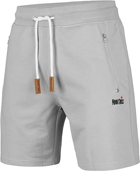 TALLA L. Mount Swiss Liam - Pantalones cortos para hombre con bolsillos (2 bolsillos laterales y 1 bolsillo trasero con cremallera)