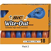 BIC Wite-Out Brand EZ Correct Correction Tape, White, 18-Count, 2 Pack