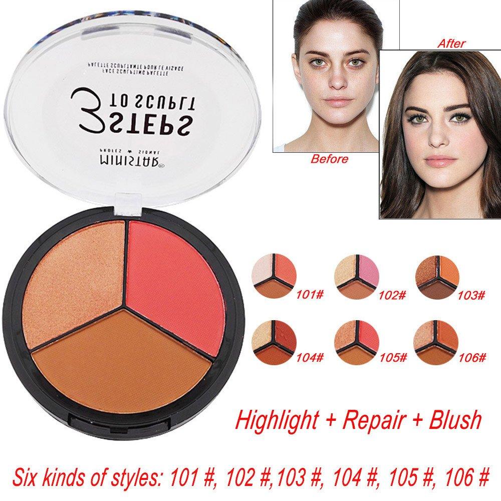 Jinjin Powder Highlighter Repair, 3 in 1 Makeup Cream Highlight Brightening Matte Blush Matte Repair (B)